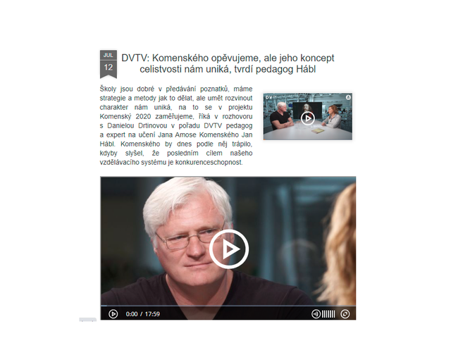DVTV: Komenského opěvujeme, ale...