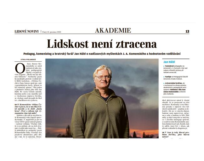 Lidskost není ztracena , Jan Hábl v Lidových novinách
