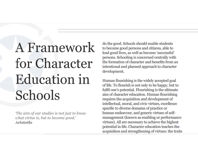 A Framework for Character Education in Schools